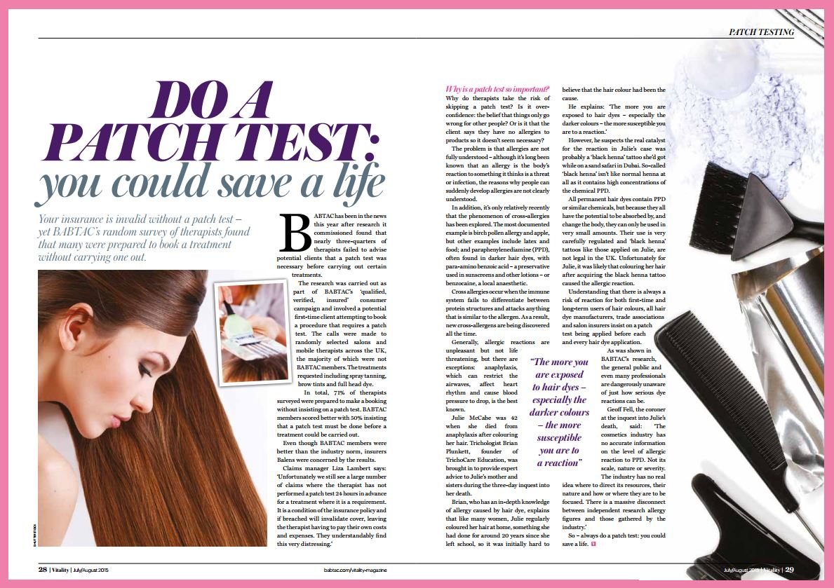 BABTAC: Do A Patch Test - you could save a life